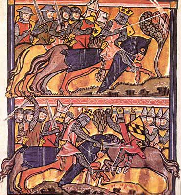 Scène d'après la Vita Karoli Magni manuscrit du XIIIe siècle Charlemagne CM1